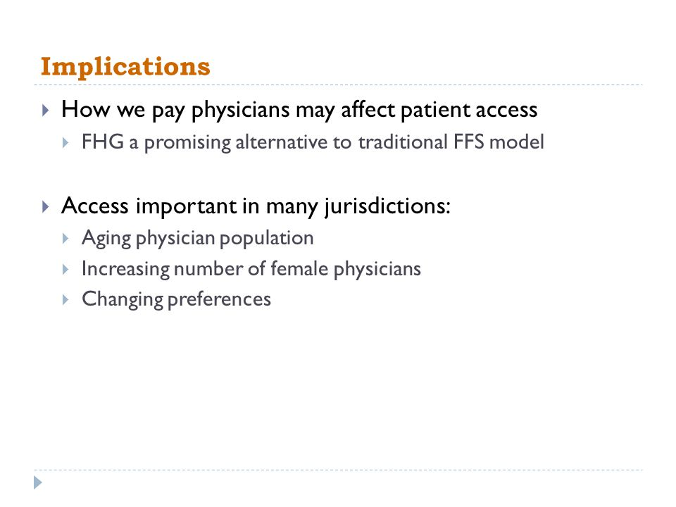 Implications How we pay physicians may affect patient access FHG a promising alternative to traditional FFS model Access important in many jurisdictio