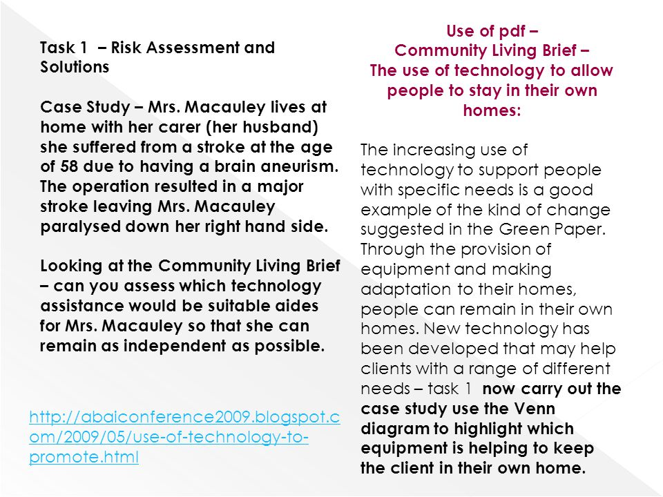 Use of pdf – Community Living Brief – The use of technology to allow people to stay in their own homes: The increasing use of technology to support pe