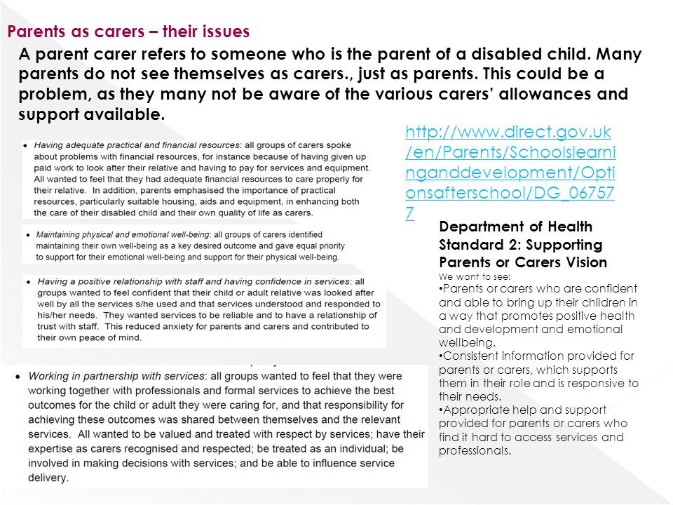 Parents as carers – their issues http://www.direct.gov.uk /en/Parents/Schoolslearni nganddevelopment/Opti onsafterschool/DG_06757 7 A parent carer ref