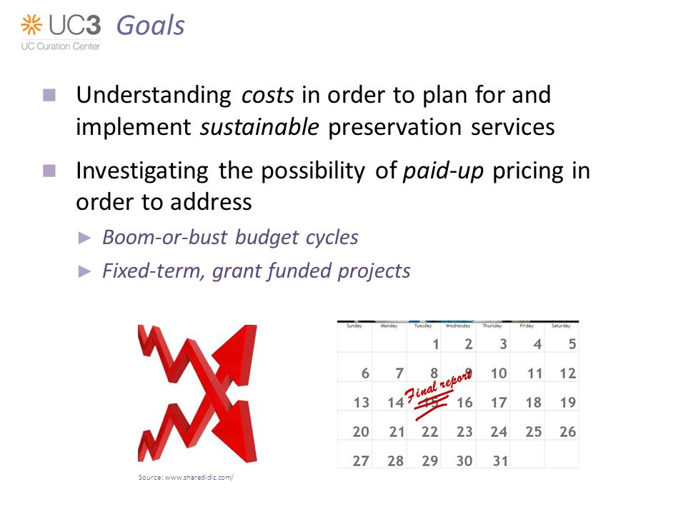 Understanding costs in order to plan for and implement sustainable preservation services Investigating the possibility of paid-up pricing in order to address Boom-or-bust budget cycles Fixed-term, grant funded projects Source:   Final report Goals