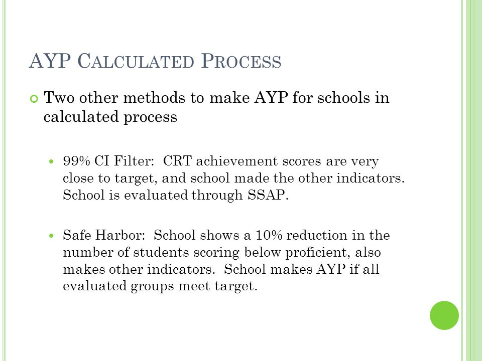 AYP C ALCULATED P ROCESS Two other methods to make AYP for schools in calculated process 99% CI Filter: CRT achievement scores are very close to target, and school made the other indicators.