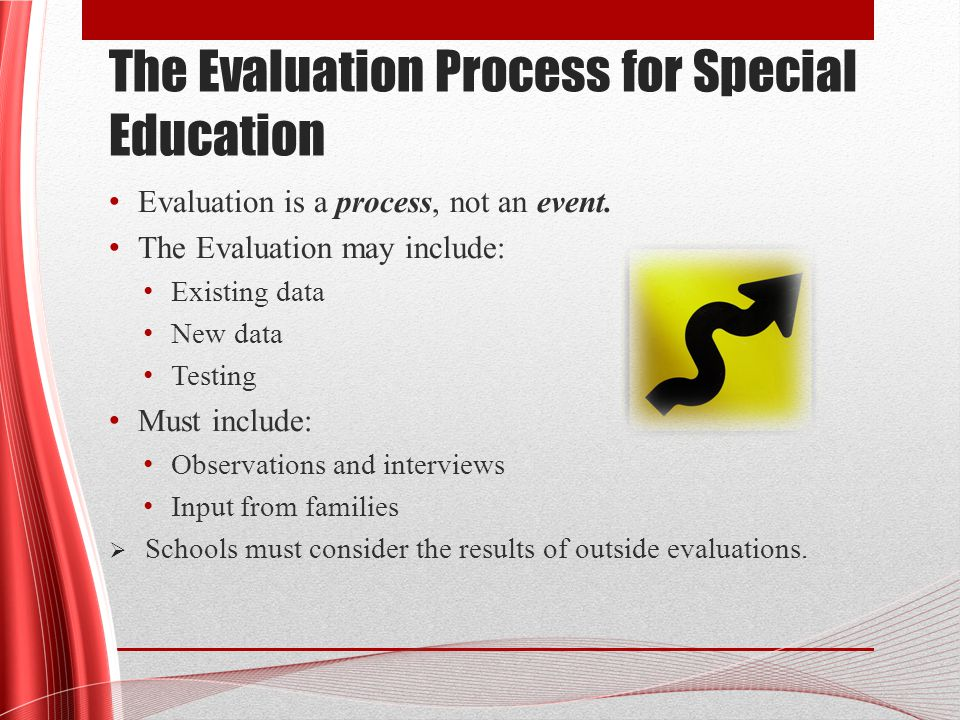 The Evaluation Process for Special Education Evaluation is a process, not an event.