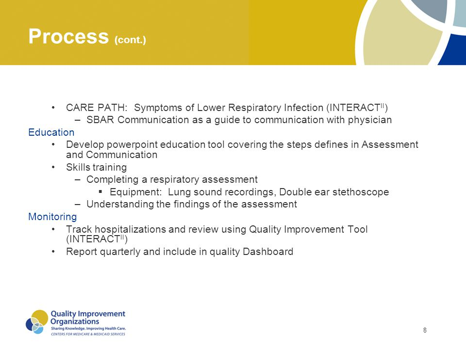 8 Process (cont.) CARE PATH: Symptoms of Lower Respiratory Infection (INTERACT II ) –SBAR Communication as a guide to communication with physician Edu