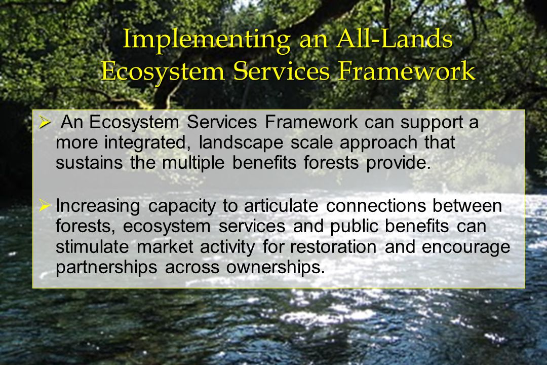 Implementing an All-Lands Ecosystem Services Framework An Ecosystem Services Framework can support a more integrated, landscape scale approach that sustains the multiple benefits forests provide.