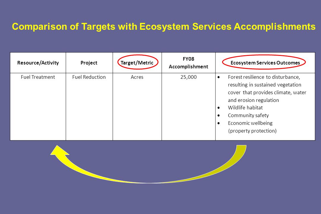 Resource/ActivityProjectTarget/Metric FY08 Accomplishment Ecosystem Services Outcomes Fuel TreatmentFuel ReductionAcres25,000 Forest resilience to disturbance, resulting in sustained vegetation cover that provides climate, water and erosion regulation Wildlife habitat Community safety Economic wellbeing (property protection) Comparison of Targets with Ecosystem Services Accomplishments