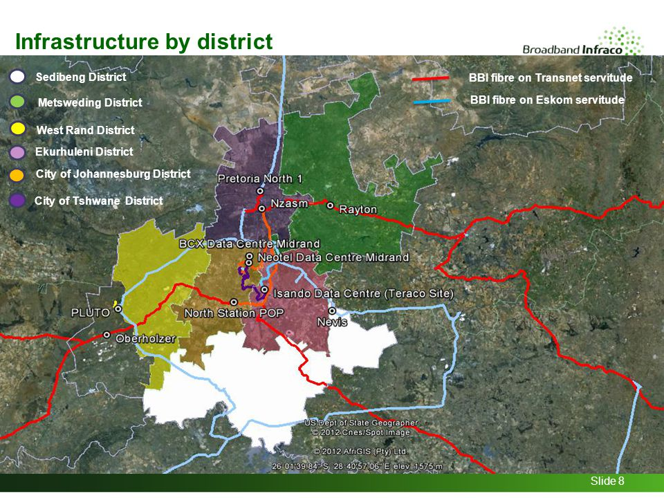 Slide 8 Sedibeng District Metsweding District West Rand District Ekurhuleni District City of Johannesburg District City of Tshwane District BBI fibre on Transnet servitude BBI fibre on Eskom servitude Infrastructure by district