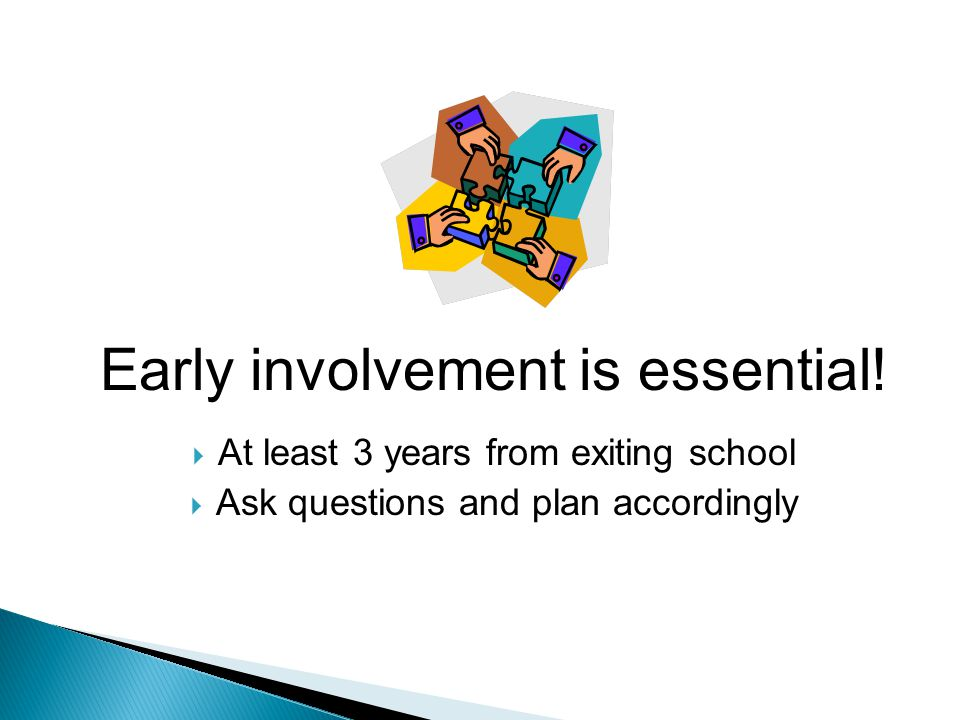 Early involvement is essential.