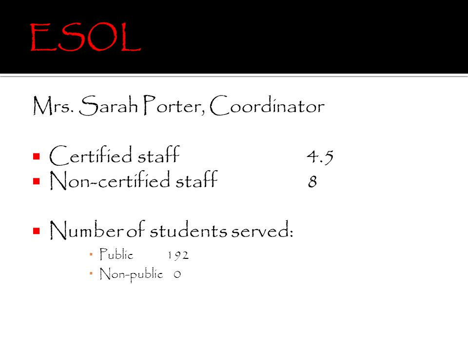 Mrs. Sarah Porter, Coordinator Certified staff 4.5 Non-certified staff8 Number of students served: Public 192 Non-public 0