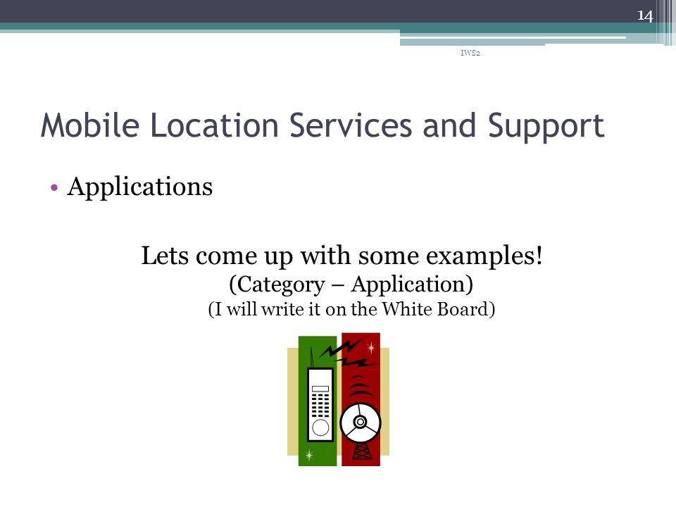Mobile Location Services and Support Applications Lets come up with some examples.