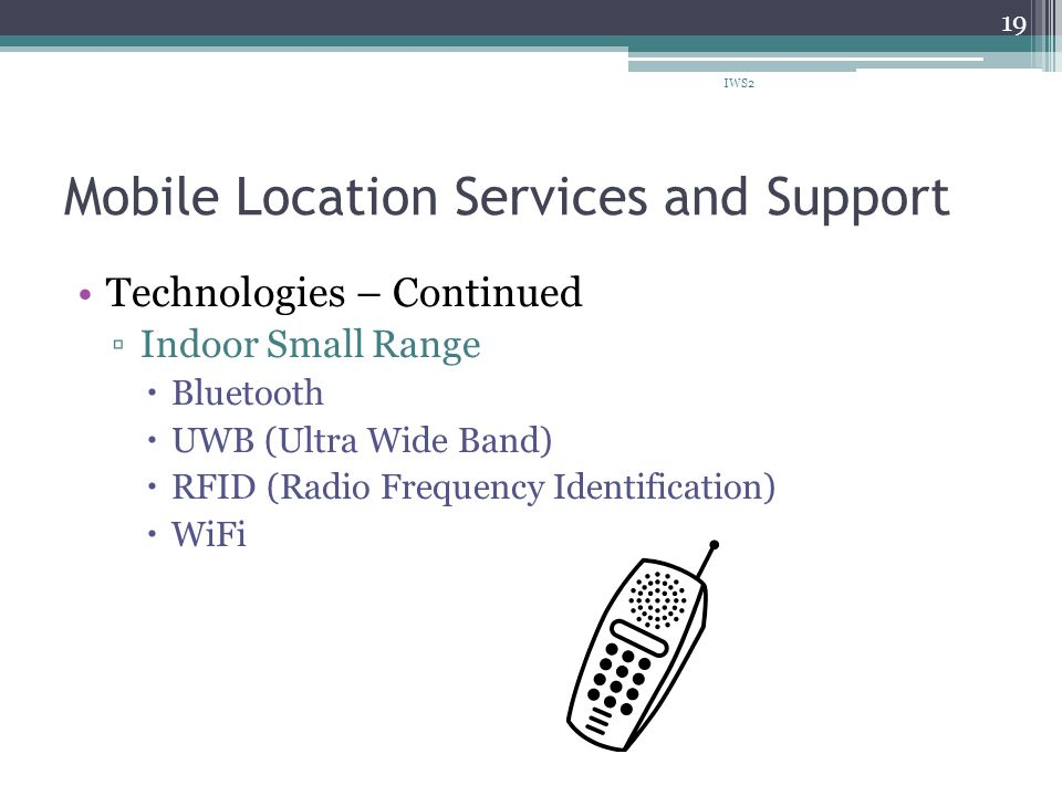 Mobile Location Services and Support Technologies – Continued Indoor Small Range Bluetooth UWB (Ultra Wide Band) RFID (Radio Frequency Identification) WiFi IWS2 19