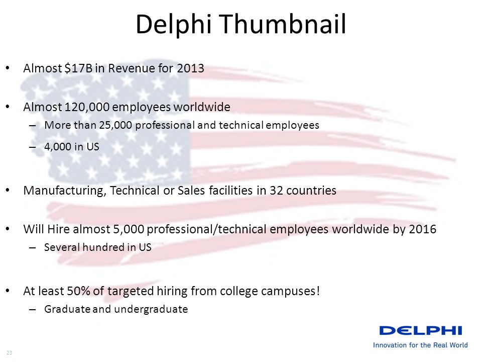 Delphi Thumbnail Almost $17B in Revenue for 2013 Almost 120,000 employees worldwide – More than 25,000 professional and technical employees – 4,000 in US Manufacturing, Technical or Sales facilities in 32 countries Will Hire almost 5,000 professional/technical employees worldwide by 2016 – Several hundred in US At least 50% of targeted hiring from college campuses.