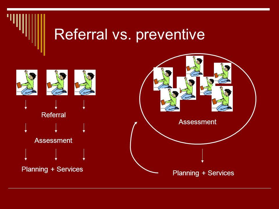 Referral vs. preventive Referral Assessment Planning + Services Assessment Planning + Services