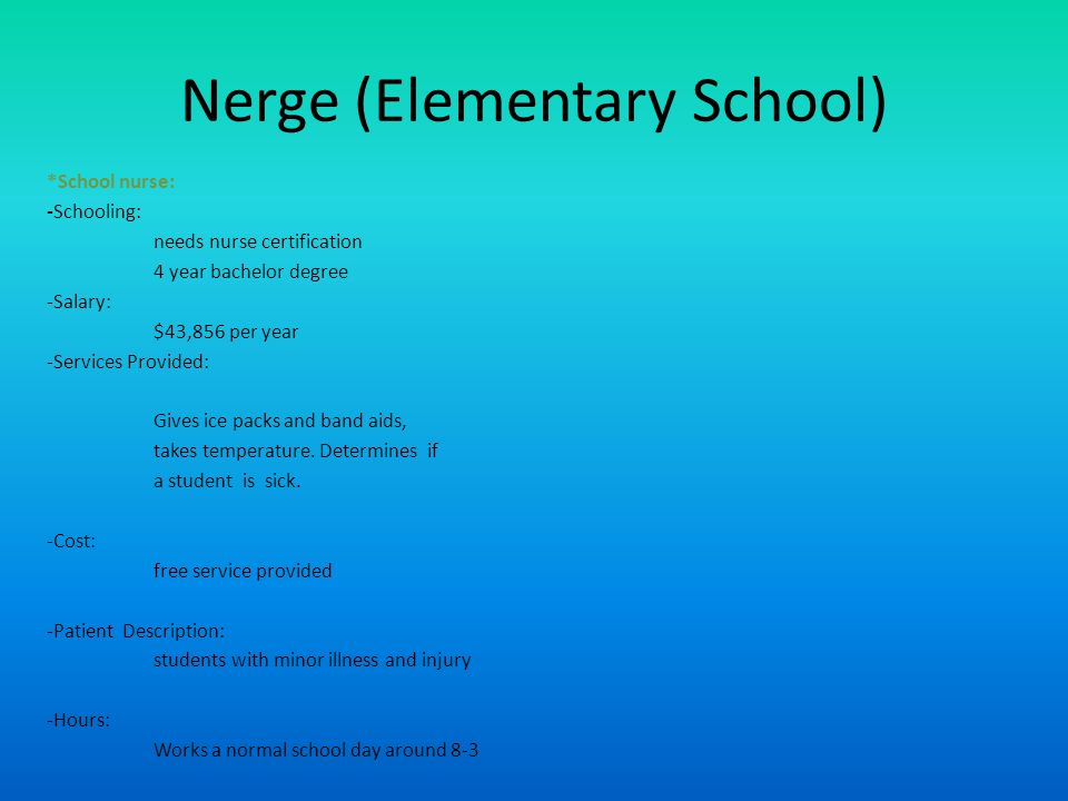 Nerge (Elementary School) *School nurse: -Schooling: needs nurse certification 4 year bachelor degree -Salary: $43,856 per year -Services Provided: Gives ice packs and band aids, takes temperature.