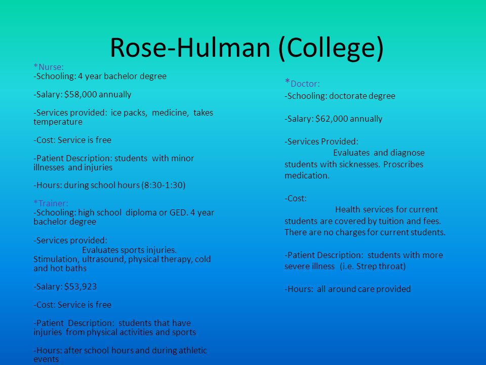 Rose-Hulman (College) *Nurse: -Schooling: 4 year bachelor degree -Salary: $58,000 annually -Services provided: ice packs, medicine, takes temperature -Cost: Service is free -Patient Description: students with minor illnesses and injuries -Hours: during school hours (8:30-1:30) *Trainer: -Schooling: high school diploma or GED.