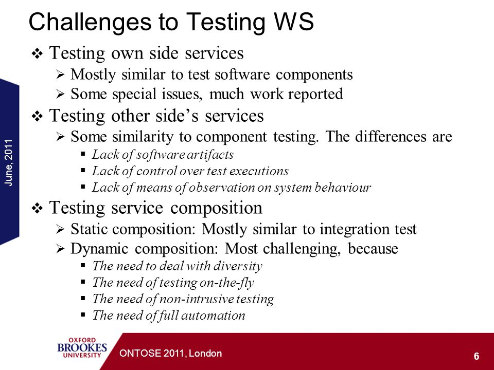 Challenges to Testing WS Testing own side services Mostly similar to test software components Some special issues, much work reported Testing other si