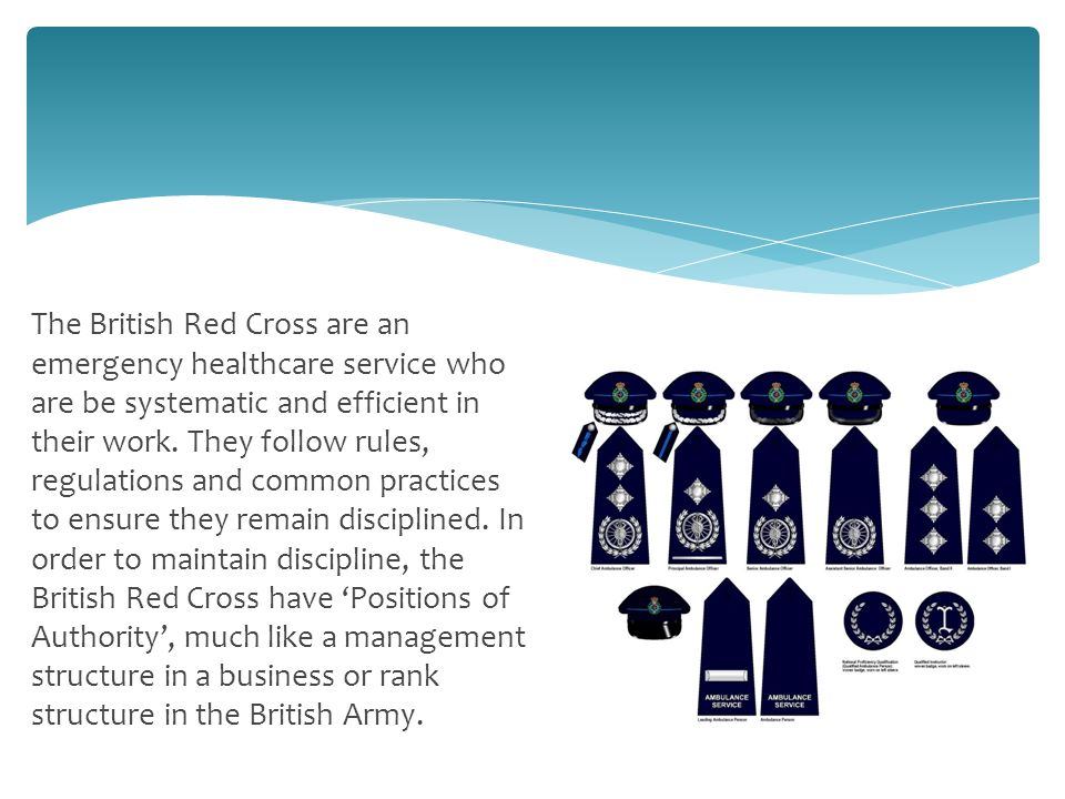 The British Red Cross are an emergency healthcare service who are be systematic and efficient in their work.