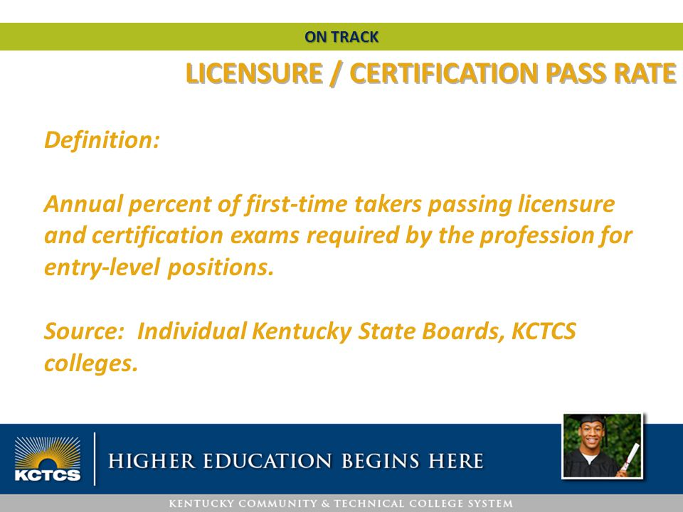 Definition: Annual percent of first-time takers passing licensure and certification exams required by the profession for entry-level positions. Source