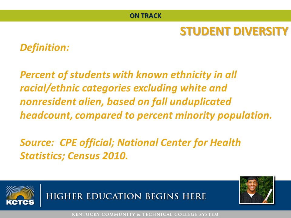 STUDENT DIVERSITY Definition: Percent of students with known ethnicity in all racial/ethnic categories excluding white and nonresident alien, based on fall unduplicated headcount, compared to percent minority population.