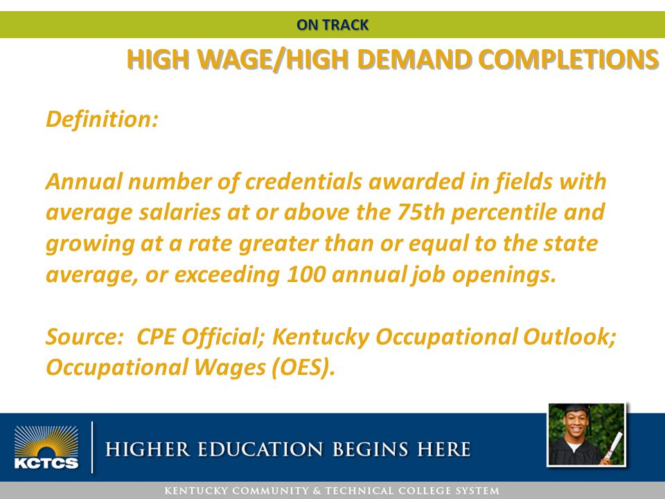 HIGH WAGE/HIGH DEMAND COMPLETIONS Definition: Annual number of credentials awarded in fields with average salaries at or above the 75th percentile and growing at a rate greater than or equal to the state average, or exceeding 100 annual job openings.