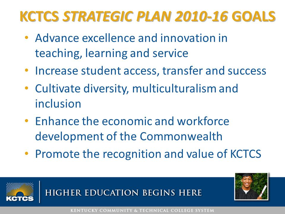 Advance excellence and innovation in teaching, learning and service Increase student access, transfer and success Cultivate diversity, multiculturalism and inclusion Enhance the economic and workforce development of the Commonwealth Promote the recognition and value of KCTCS KCTCS STRATEGIC PLAN 2010-16 GOALS
