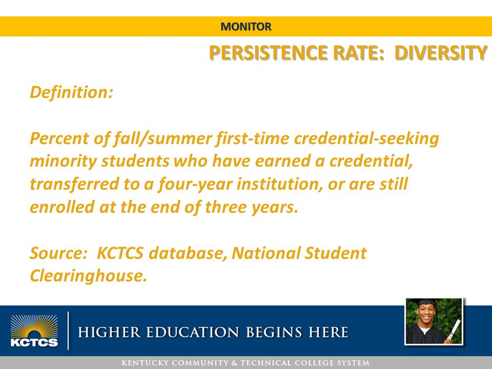 PERSISTENCE RATE: DIVERSITY Definition: Percent of fall/summer first-time credential-seeking minority students who have earned a credential, transferr