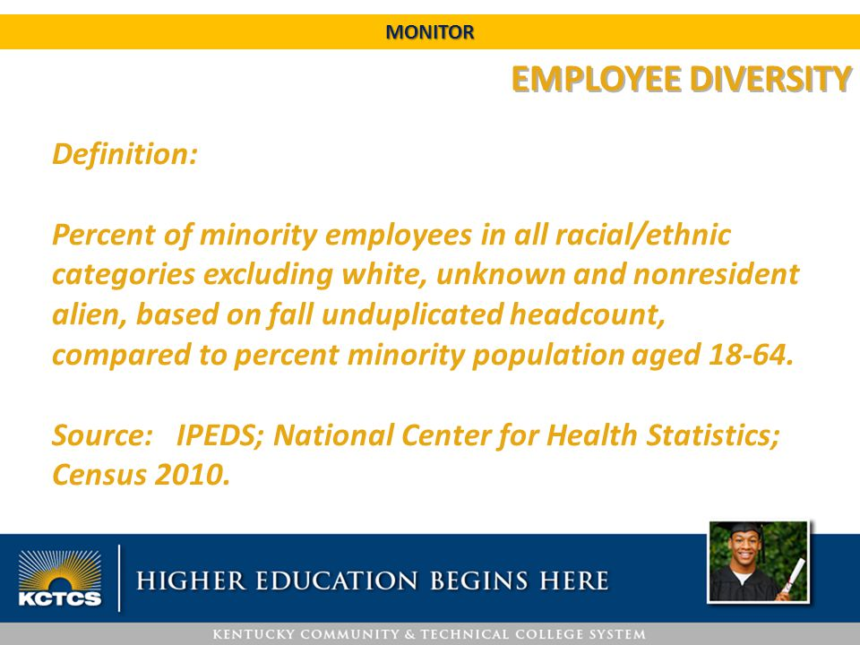 EMPLOYEE DIVERSITY Definition: Percent of minority employees in all racial/ethnic categories excluding white, unknown and nonresident alien, based on