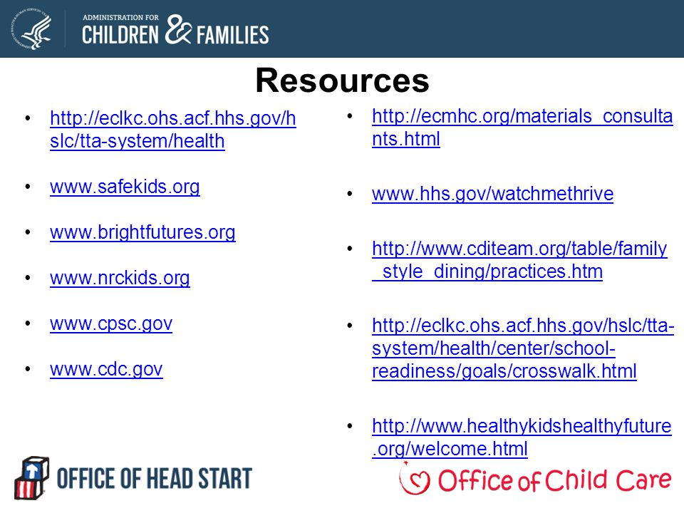 Resources http://ecmhc.org/materials_consulta nts.htmlhttp://ecmhc.org/materials_consulta nts.html www.hhs.gov/watchmethrive http://www.cditeam.org/table/family _style_dining/practices.htmhttp://www.cditeam.org/table/family _style_dining/practices.htm http://eclkc.ohs.acf.hhs.gov/hslc/tta- system/health/center/school- readiness/goals/crosswalk.htmlhttp://eclkc.ohs.acf.hhs.gov/hslc/tta- system/health/center/school- readiness/goals/crosswalk.html http://www.healthykidshealthyfuture.org/welcome.htmlhttp://www.healthykidshealthyfuture.org/welcome.html http://eclkc.ohs.acf.hhs.gov/h slc/tta-system/healthhttp://eclkc.ohs.acf.hhs.gov/h slc/tta-system/health www.safekids.org www.brightfutures.org www.nrckids.org www.cpsc.gov www.cdc.gov