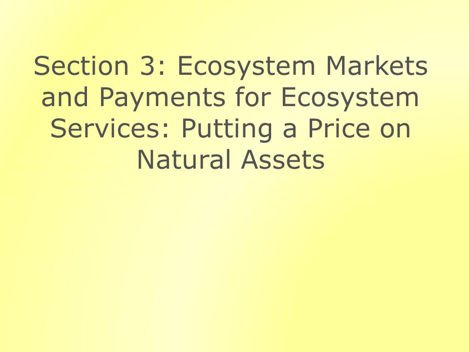 Section 3: Ecosystem Markets and Payments for Ecosystem Services: Putting a Price on Natural Assets