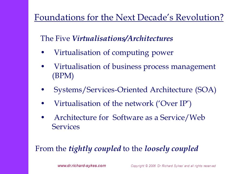 www.dr.richard-sykes.com Copyright © 2006 Dr Richard Sykes and all rights reserved The Five Virtualisations/Architectures Virtualisation of computing power Virtualisation of business process management (BPM) Systems/Services-Oriented Architecture (SOA) Virtualisation of the network (Over IP) Architecture for Software as a Service/Web Services From the tightly coupled to the loosely coupled Foundations for the Next Decades Revolution