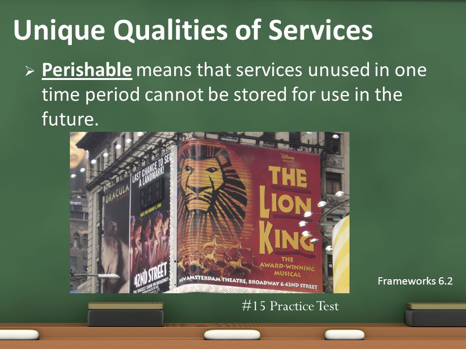 Perishable means that services unused in one time period cannot be stored for use in the future.