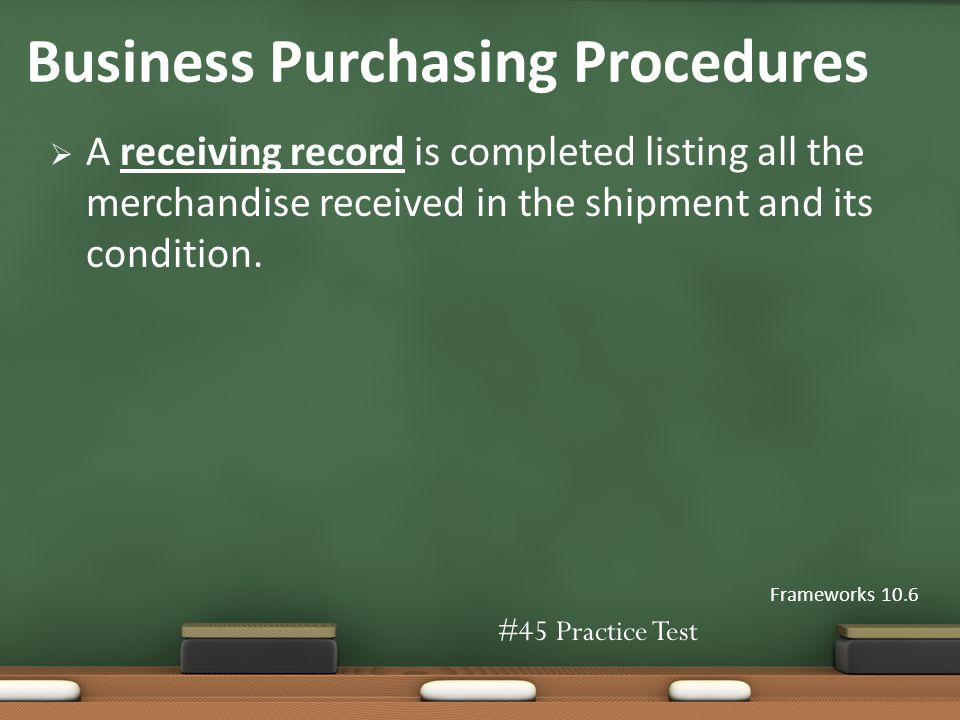 A receiving record is completed listing all the merchandise received in the shipment and its condition.