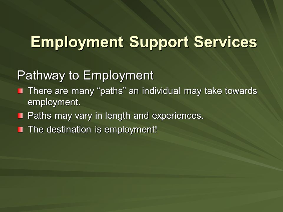 Employment Support Services Pathway to Employment There are many paths an individual may take towards employment.
