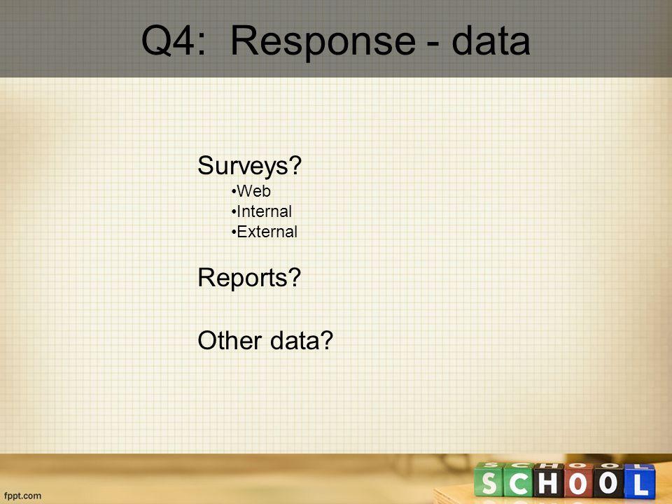 Q4: Response - data Surveys Web Internal External Reports Other data