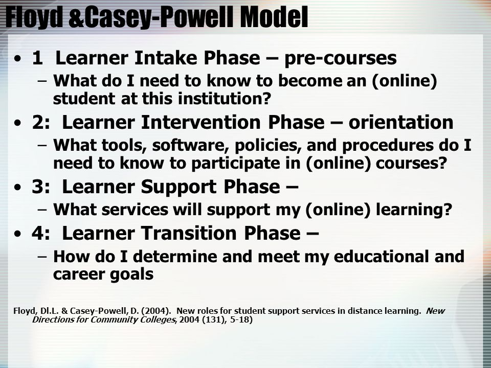Floyd &Casey-Powell Model 1 Learner Intake Phase – pre-courses –What do I need to know to become an (online) student at this institution.