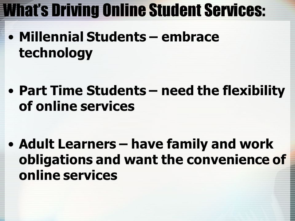 eTutoring: Collaboration Online Tutoring Services Offered: Synchronous Student-Tutor Sessions Drop in Sessions Scheduled 7 days a week Asynchronous Student Questions Response received in 24 to 48 hours Asynchronous Online Writing Lab Response received in 24 to 48 hours