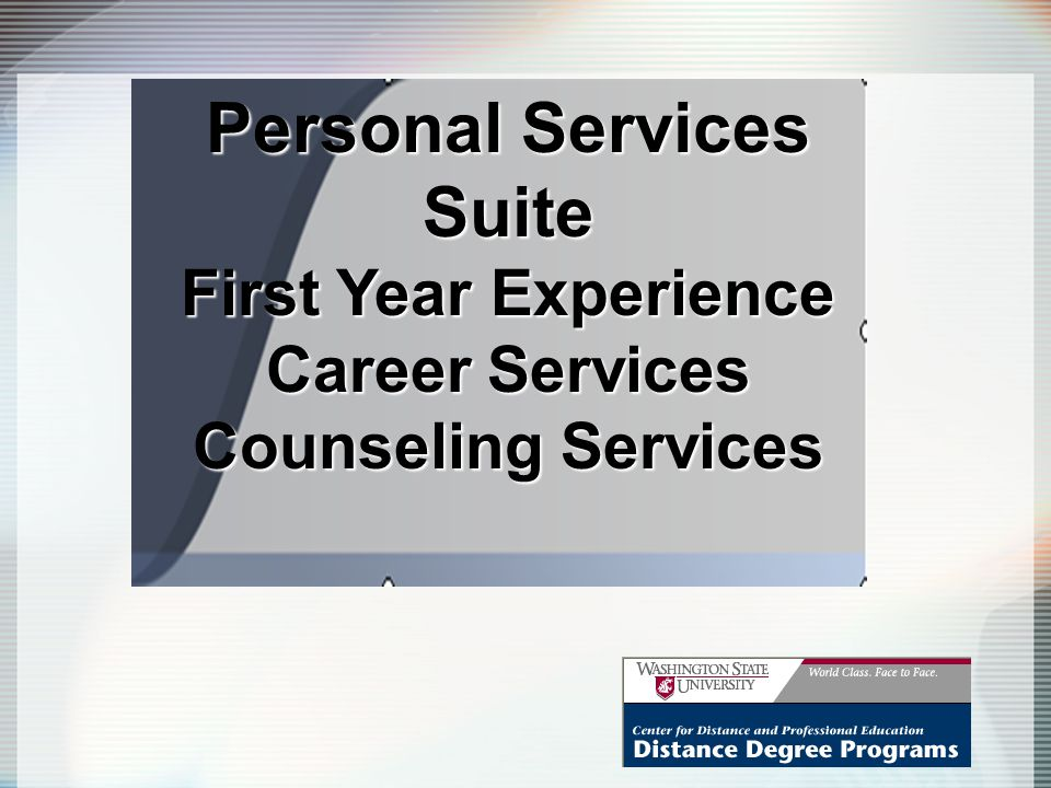 Personal Services Suite First Year Experience Career Services Counseling Services
