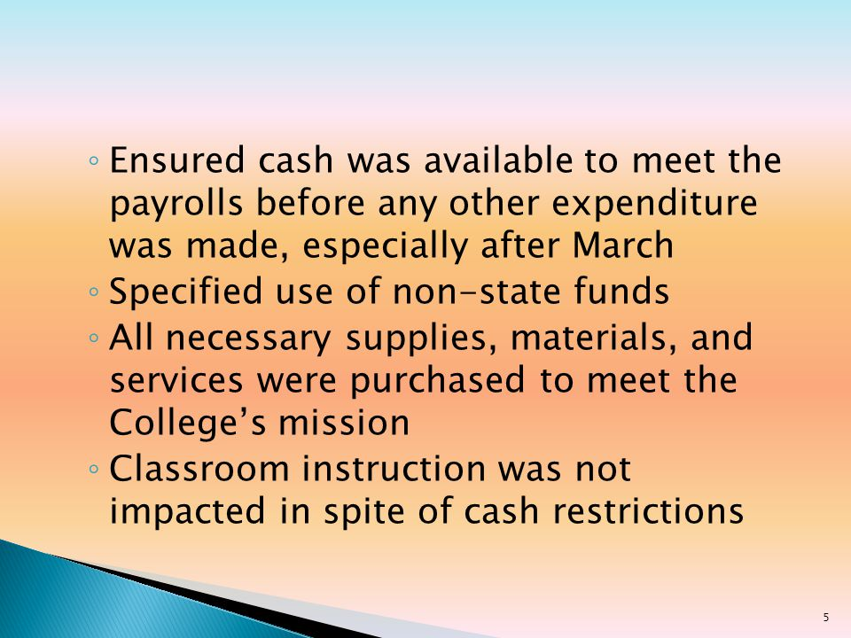 Establish methodology to capture payroll encumbrance data for CE instructional contracts Request and allocate approved State budget funds Conduct training sessions in using WebAdvisor Continue to serve on NCCCS Assignment Contract Committee 16