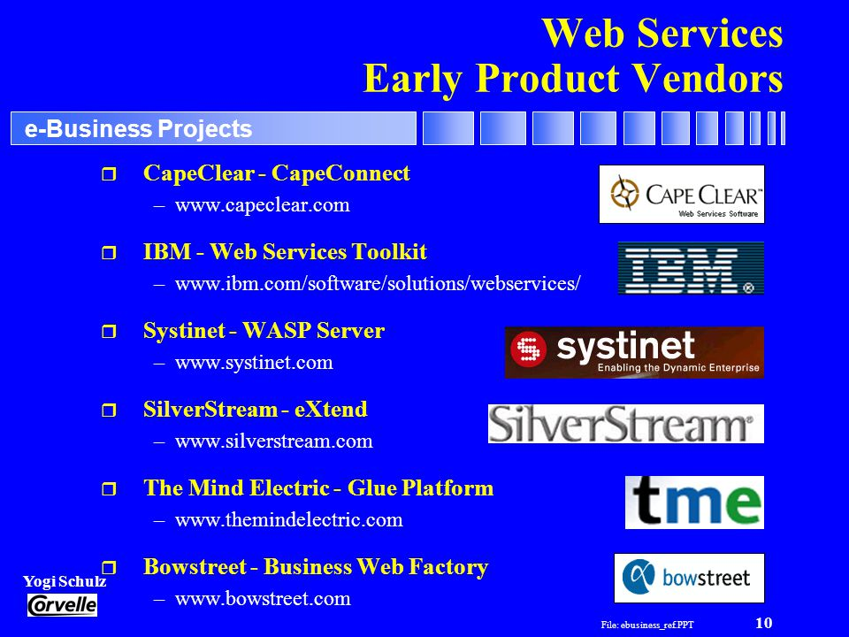 File: ebusiness_ref.PPT 10 Yogi Schulz e-Business Projects Web Services Early Product Vendors r CapeClear - CapeConnect –www.capeclear.com r IBM - Web Services Toolkit –www.ibm.com/software/solutions/webservices/ r Systinet - WASP Server –www.systinet.com r SilverStream - eXtend –www.silverstream.com r The Mind Electric - Glue Platform –www.themindelectric.com r Bowstreet - Business Web Factory –www.bowstreet.com