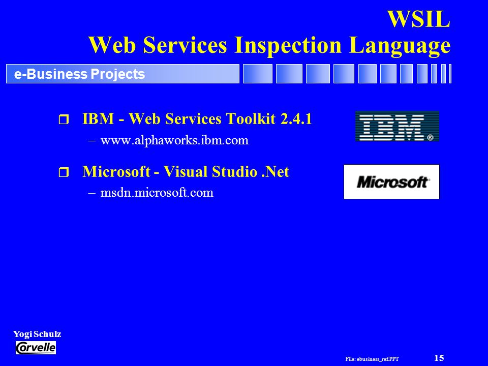File: ebusiness_ref.PPT 15 Yogi Schulz e-Business Projects WSIL Web Services Inspection Language r IBM - Web Services Toolkit 2.4.1 –www.alphaworks.ib