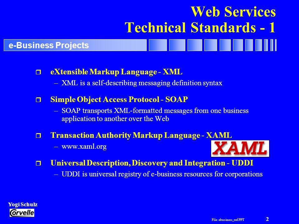 File: ebusiness_ref.PPT 3 Yogi Schulz e-Business Projects Web Services Technical Standards - 2 r Web Services Interoperability Organization - WS-I –an initiative intended to promote reliable interoperability and offer implementation guidance –www.ws-i.org r Web Services Description Language - WSDL –WSDL will standardize how a Web service and its provider are described r Web Services Inspection Language - WSIL –WSIL will aid the process of Web services discovery –WS-Inspection employs the same standards already in place for UDDI r Web-based Distributed Authoring and Versioning - WebDAV –WebDAV is a set of extensions to the HTTP protocol that allows users to collaboratively edit and manage files on a remote Web server