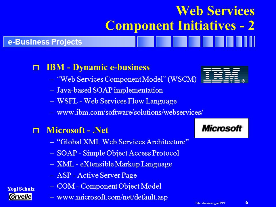 File: ebusiness_ref.PPT 6 Yogi Schulz e-Business Projects Web Services Component Initiatives - 2 r IBM - Dynamic e-business –Web Services Component Model (WSCM) –Java-based SOAP implementation –WSFL - Web Services Flow Language –www.ibm.com/software/solutions/webservices/ r Microsoft -.Net –Global XML Web Services Architecture –SOAP - Simple Object Access Protocol –XML - eXtensible Markup Language –ASP - Active Server Page –COM - Component Object Model –www.microsoft.com/net/default.asp