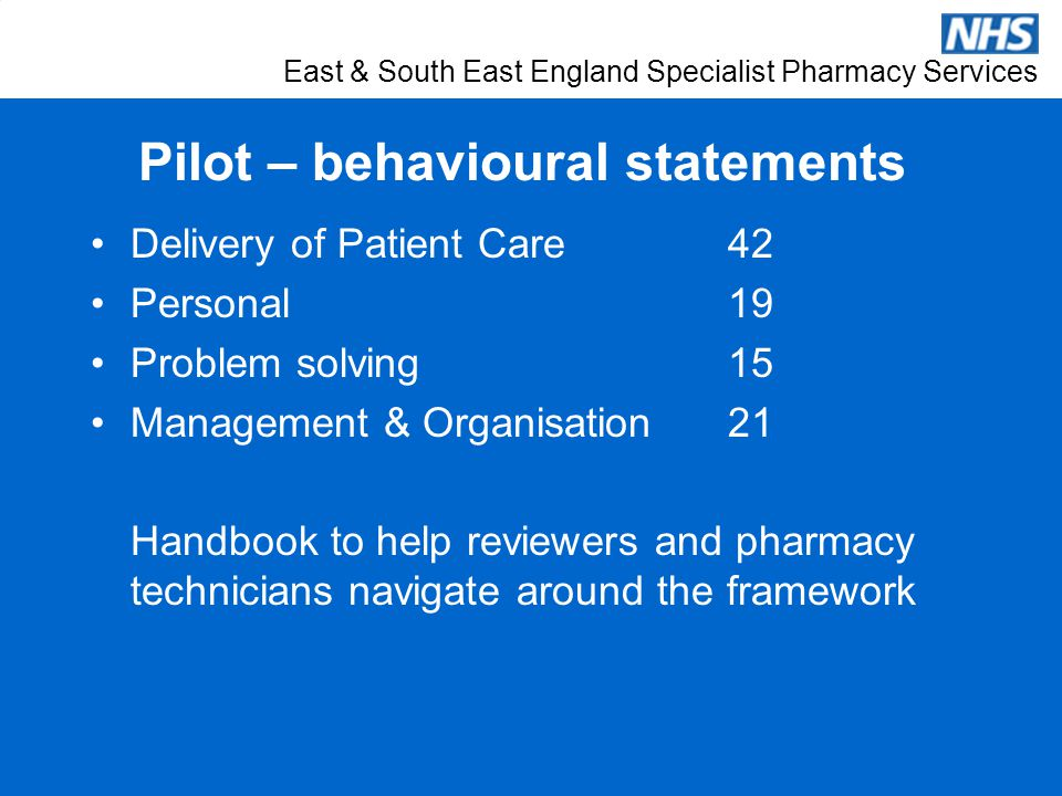 East & South East England Specialist Pharmacy Services Pilot – behavioural statements Delivery of Patient Care 42 Personal 19 Problem solving 15 Manag