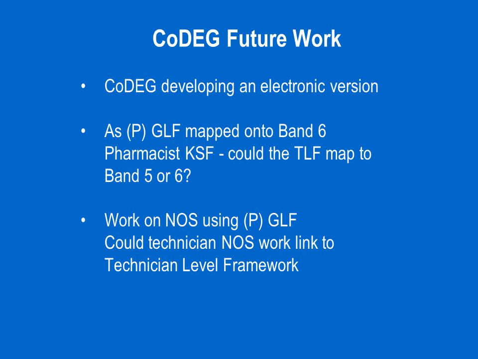 CoDEG Future Work CoDEG developing an electronic version As (P) GLF mapped onto Band 6 Pharmacist KSF - could the TLF map to Band 5 or 6? Work on NOS