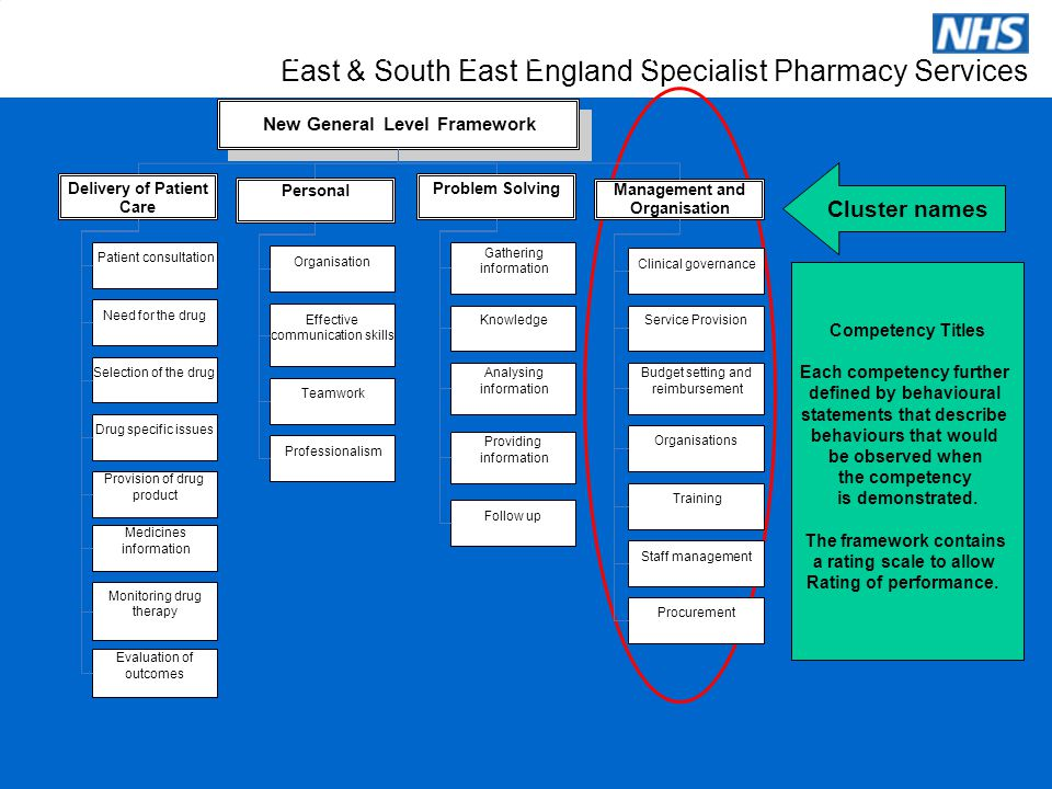 East & South East England Specialist Pharmacy Services Cluster names Competency Titles Each competency further defined by behavioural statements that