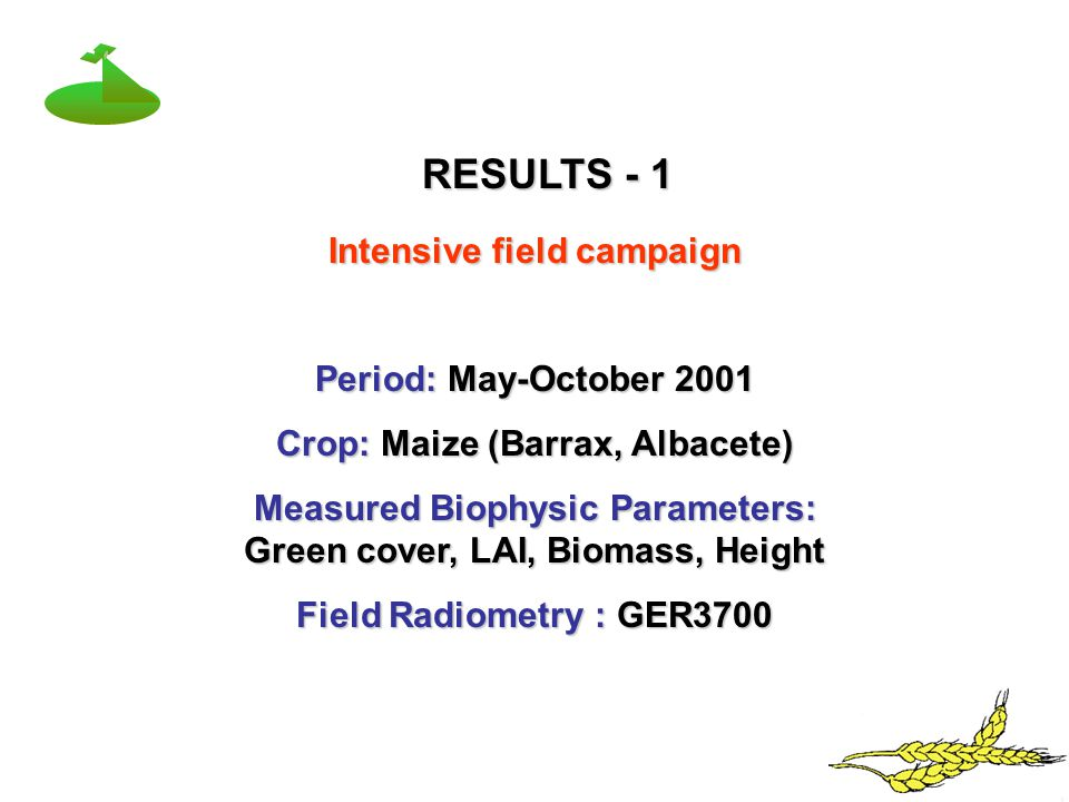 RESULTS - 1 Intensive field campaign Period: May-October 2001 Crop: Maize (Barrax, Albacete) Measured Biophysic Parameters: Green cover, LAI, Biomass, Height Field Radiometry : GER3700