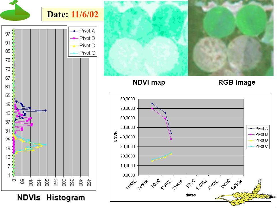 NDVIs Histogram Date: 11/6/02 NDVI mapRGB image