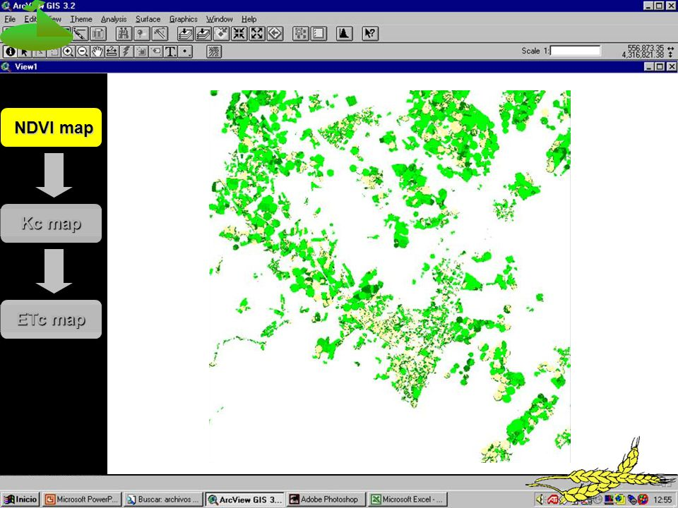 NDVI map Kc map ETc map