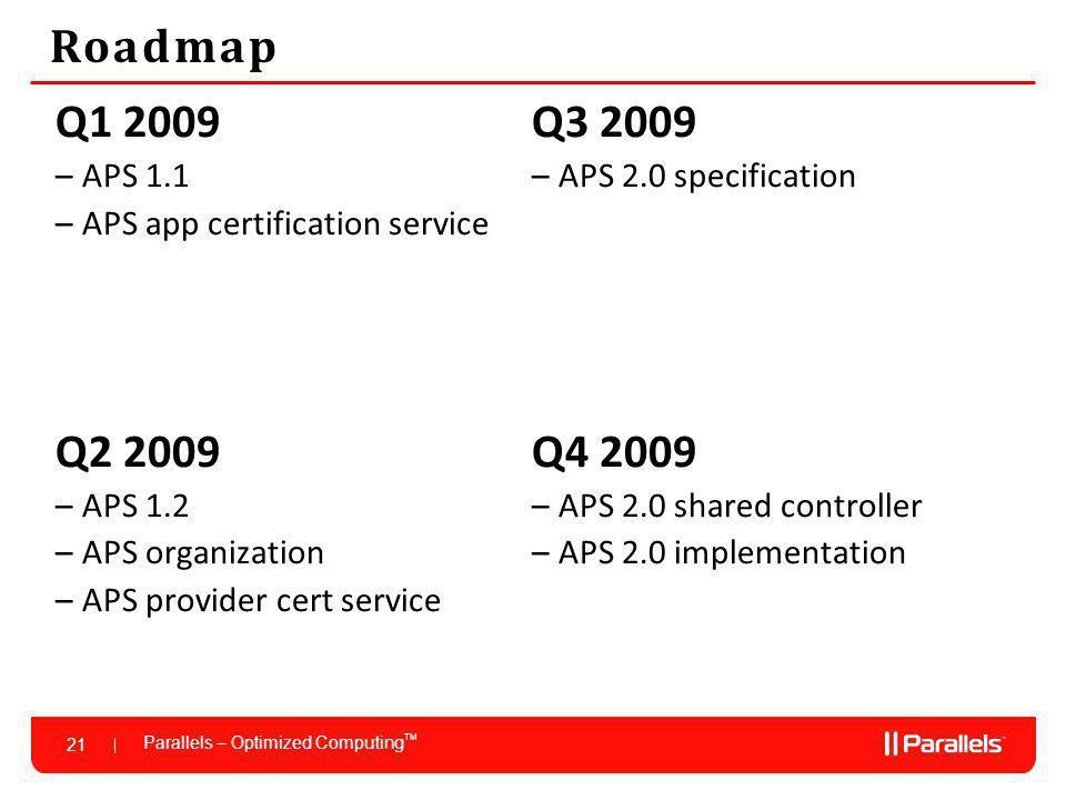 Parallels – Optimized Computing TM 21 Roadmap Q1 2009 –APS 1.1 –APS app certification service Q2 2009 –APS 1.2 –APS organization –APS provider cert service Q3 2009 –APS 2.0 specification Q4 2009 –APS 2.0 shared controller –APS 2.0 implementation