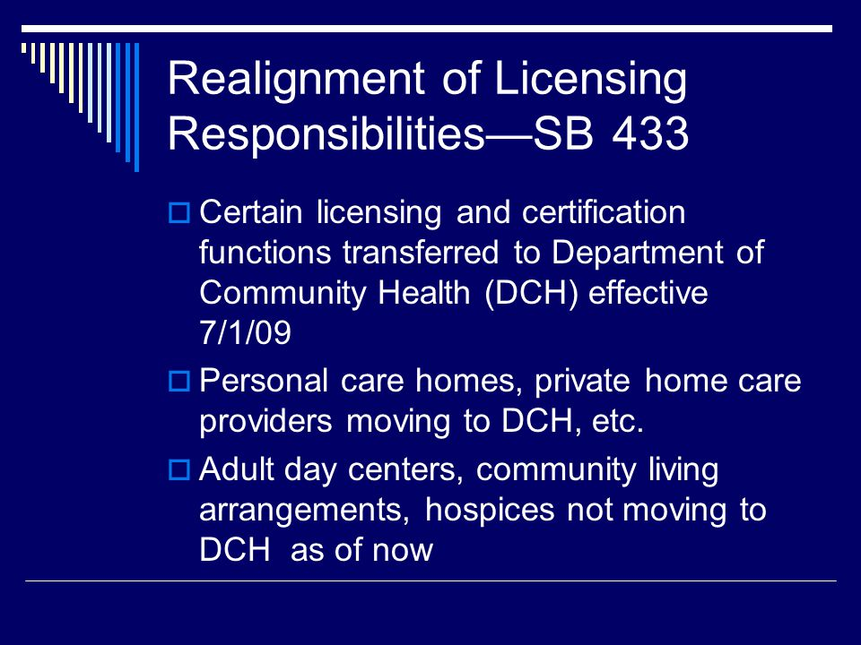 Realignment of Licensing ResponsibilitiesSB 433 Certain licensing and certification functions transferred to Department of Community Health (DCH) effe