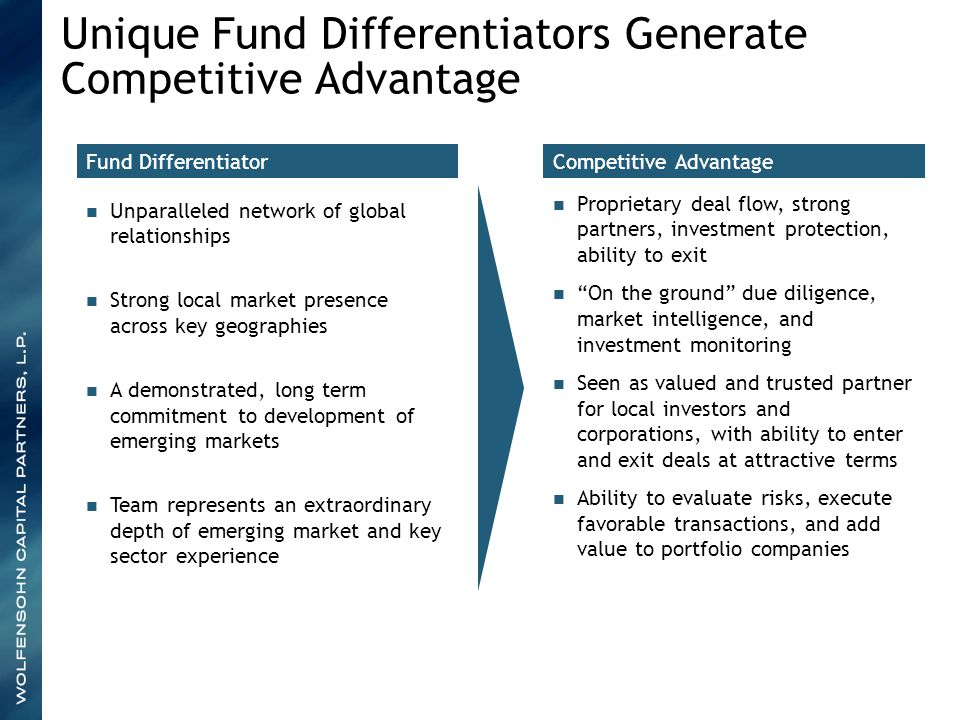 Fund Differentiator Unparalleled network of global relationships Strong local market presence across key geographies A demonstrated, long term commitm